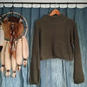 Sweaters - Army-Green Cropped Sweater